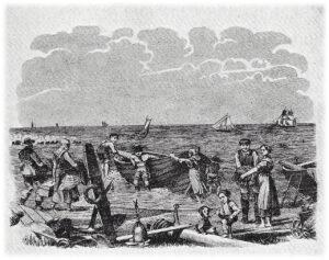 """Tegning i et """"skillingsblad """" som viser det glade fiskerliv på Hornbæk Strand i gamle dage."""