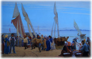 """Udsnit af """"Morgen ved Hornbæk. Fiskerne kommer i land"""" er fra 1875 og malet af P.S. Krøyer. Maleriet kan ses på Den Hirschsprungske Samling i København."""
