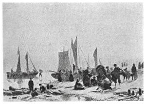 J.P. Raading: Fiskerbådene kommer ind om morgenen til Hornbæk Strand.