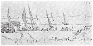 """Krøyer: et forstudier til """"Morgen ved Hornbæk Strand, fiskerne kommer ind""""."""