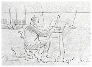 Krøyer: tegning – et selvportræt ved pælerækken på stranden
