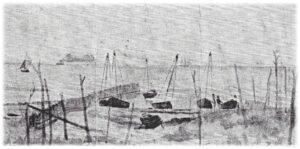 Viggo Johansens tegning fra 1873, der viser Hornbæk Bro med pælerækken.